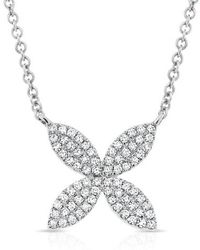 Anne Sisteron - 14kt White Gold Diamond Flower Necklace - Lyst