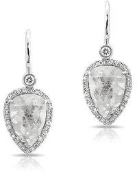 Anne Sisteron | 14kt White Gold Raw Diamond Pear Earrings | Lyst