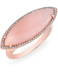 Anne Sisteron - 14kt Rose Gold Diamond Pink Opal Marquis Ring - Lyst