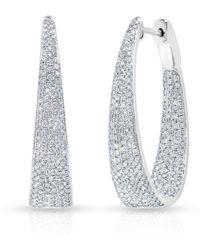Anne Sisteron - 14kt White Gold Diamond Kara Hoop Earrings - Lyst
