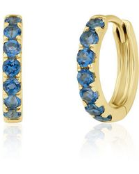 Anne Sisteron - 14kt Yellow Gold Blue Topaz Huggies - Lyst