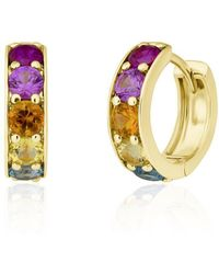 Anne Sisteron - 14kt Yellow Gold Rainbow Sapphire Huggies - Lyst