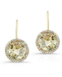 Anne Sisteron - 14kt Yellow Gold Green Amethyst Diamond Round Earrings - Lyst