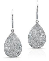 Anne Sisteron | 14kt White Gold Diamond Medium Pear Shaped Earrings | Lyst