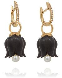 Annoushka - 18ct Gold Ebony Pearl Tulip Earrings - Lyst