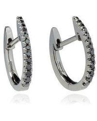 Annoushka - Eclipse 18ct White Gold Black Diamond Fine Hoop Earrings - Lyst