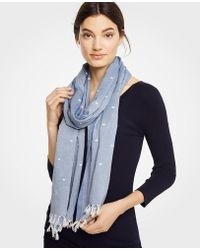 Ann Taylor - Chambray Embroidered Dot Tassel Scarf - Lyst
