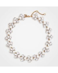Ann Taylor - Crystal Pearlized Statement Necklace - Lyst