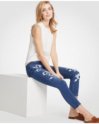 Ann Taylor - Petite Modern Painted Floral All Day Skinny Crop Jeans - Lyst