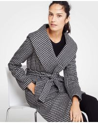 Ann Taylor - Petite Houndstooth Shawl Collar Wrap Coat - Lyst