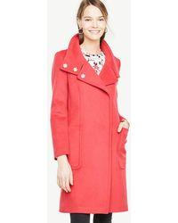 Ann Taylor - Pink Weekend Funnel Neck Coat - Lyst