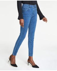 505e97f950 Ann Taylor - Petite Dot Embroidered High Rise Performance Stretch Skinny  Jeans - Lyst