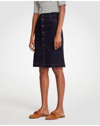 Ann Taylor - Petite Floral Embroidered Button Front Denim Skirt - Lyst