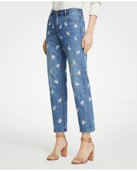 Ann Taylor - Tall Floral Embroidered Straight Crop Jeans - Lyst