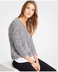 Ann Taylor - Mixed Media Tweed Knit Top - Lyst