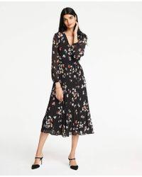 Ann Taylor - Meadow Floral Pleated Wrap Dress - Lyst