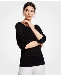 Ann Taylor - Striped Balloon Sleeve Sweater - Lyst