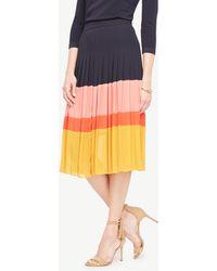 Ann Taylor | Tall Pleated Block Print Skirt | Lyst
