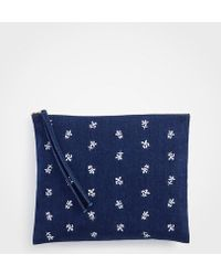 Ann Taylor - Floral Embroidered Denim Zip Pouch - Lyst