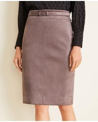 Ann Taylor - Petite Faux Suede Belted Pencil Skirt - Lyst