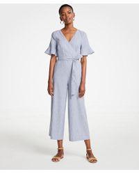 Ann Taylor - Tall Fluted Sleeve Linen Blend Jumpsuit - Lyst
