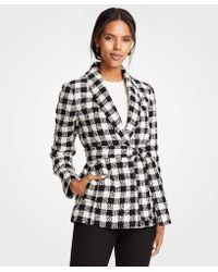 Ann Taylor - Petite Checked Belted Jacket - Lyst