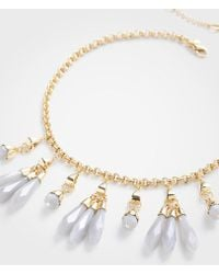 Ann Taylor - Linear Stone Statement Necklace - Lyst