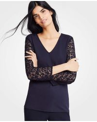 Ann Taylor - Lace Sleeve Ponte Top - Lyst