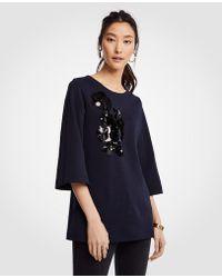 Ann Taylor - Sequin Floral Applique Sweatshirt - Lyst