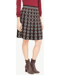 Ann Taylor | Embroidered Pleated Skirt | Lyst