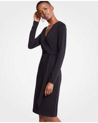 Ann Taylor - Striped Matte Jersey Wrap Dress - Lyst