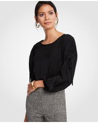 Ann Taylor | Shirred Tie Sleeve Blouse | Lyst