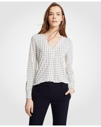Ann Taylor - Geo Floral Pleated V-neck Top - Lyst