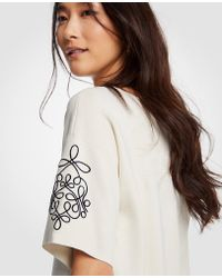 Ann Taylor - Embroidered Short Sleeve Sweater - Lyst