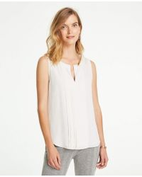 Ann Taylor - Petite Pleat Front Shell - Lyst