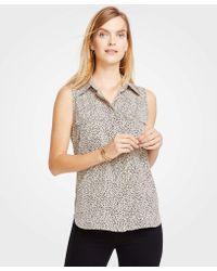 14d7fcb22099aa Ann Taylor - Spotted Sleeveless Camp Shirt - Lyst