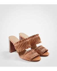 Ann Taylor | Hartley Leather Ruffle Block Heel Sandals | Lyst