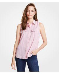 837603539cb7a1 Lyst - Ann Taylor Stretch Silk Button Down Camp Shirt in Blue