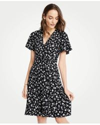 2ed65b7eeb6d Ann Taylor - Floral Flutter Sleeve Wrap Dress - Lyst