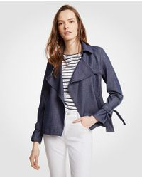 Ann Taylor - Chambray Trench Coat - Lyst