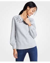 Ann Taylor - Embroidered Floral Sweatshirt - Lyst