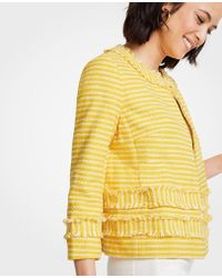 Ann Taylor - Petite Striped Fringe Jacket - Lyst