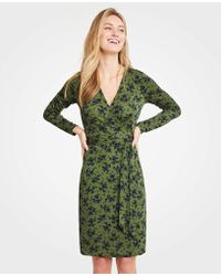 Ann Taylor - Alpine Floral Matte Jersey Wrap Dress - Lyst