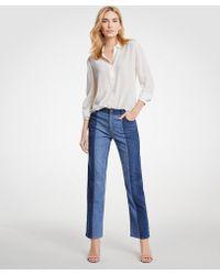 Ann Taylor   Pieced Straight Crop Jeans   Lyst
