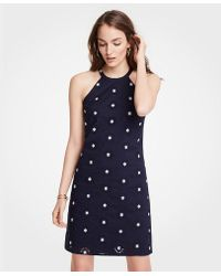 Ann Taylor - Floral Embroidered Eyelet Halter Dress - Lyst
