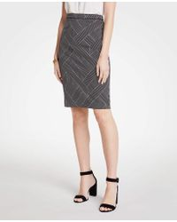 Ann Taylor - Curvy Cross Stripe Pencil Skirt - Lyst