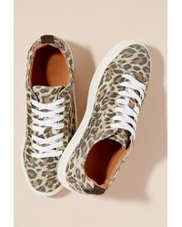 SELECTED - Leopard-print Leather Trainers - Lyst