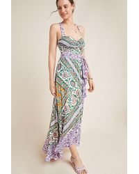 70972daf942f Maeve - Amaline Ruffled-printed Maxi Dress - Lyst