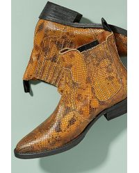 SELECTED - Snake-effect Leather Cowboy Boots - Lyst