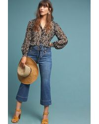 Anthropologie - Cropped High-waisted Flared Jeans - Lyst